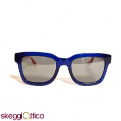 Occhiali da sole unisex blu acetato lenti flash Gucci